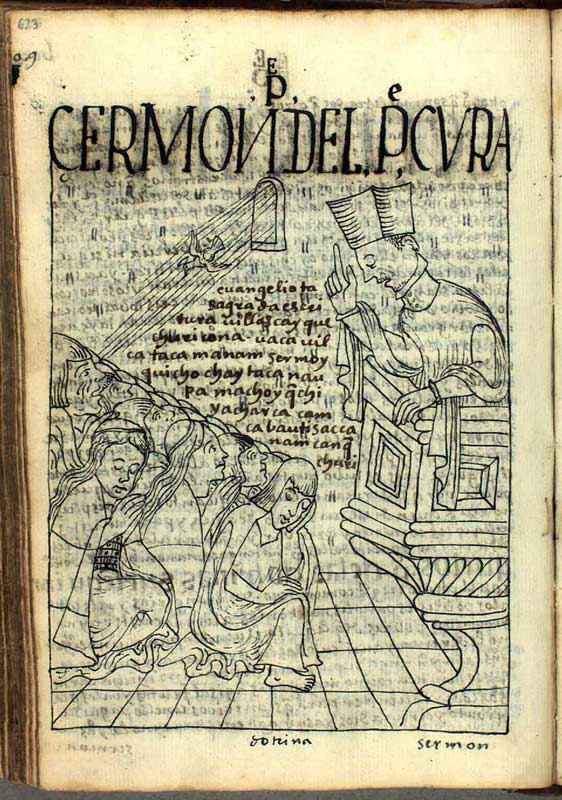 Teaching Christianity to the Indians of Peru in the 17th century (http://www.kb.dk/permalink/2006/poma/info/en/frontpage.htm; page 623); click for a larger version.
